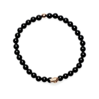 Armband Lavastein Perlen Totenkopf