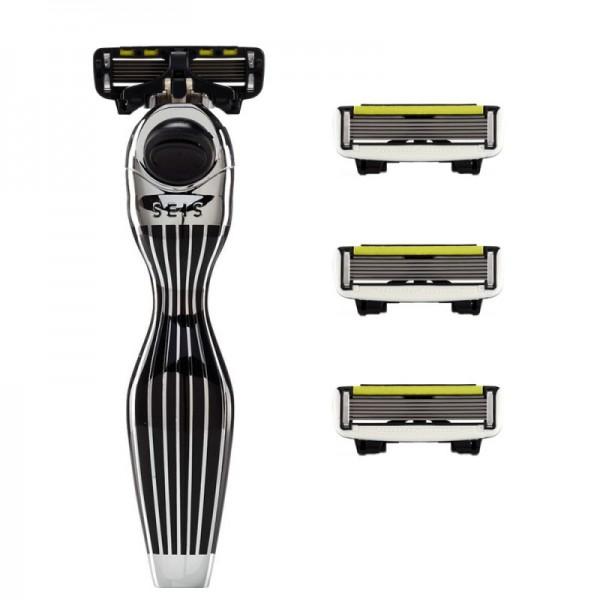 Shave Lab SEIS Rasierer schwarz / silber Streifen