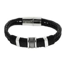 Royal-Ego Leather Steel Bracelet Urban Black