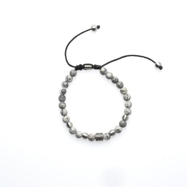 Royal-Ego Bead Bracelet Achat grey silver