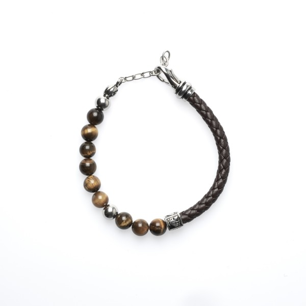 Royal-Ego Bead and Leather Bracelet Tiger Eye brown silver